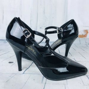 "PLEASER Women's Sexy Black T-Strap Pumps 4"" Heels"